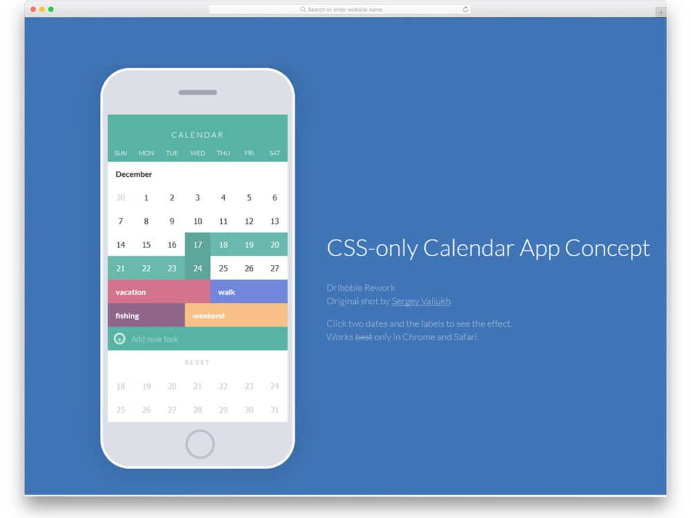 20 Cool CSS calendar Inspiration For Your Web And Mobile Applications