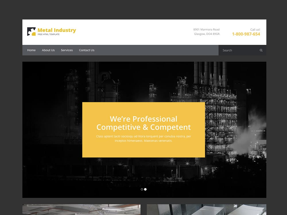 Metallix - Free Industrial  Construction Company Bootstrap HTML5