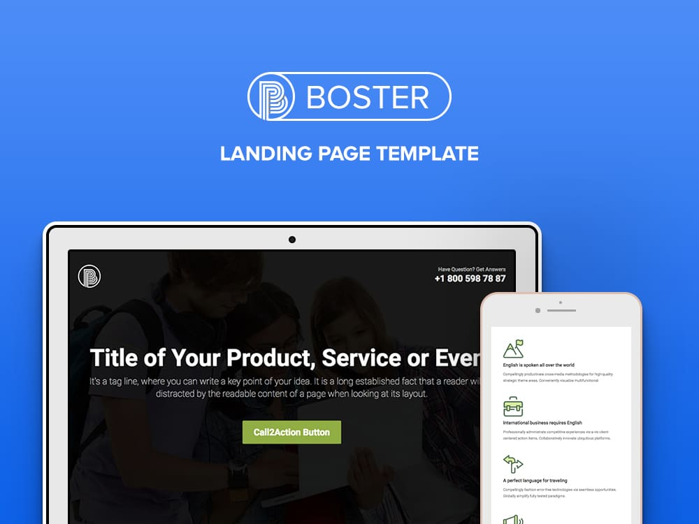 Booster - Free Business Bootstrap Landing Page Template - uiCookes - html5 template tag