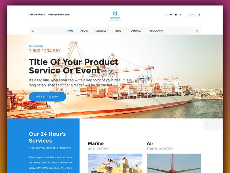 Unship - Free Trucking-Transportation  Logistics HTML Template