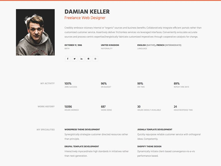 MyProfile \u2013 Free Professional Personal Bootstrap CV / Simple HTML