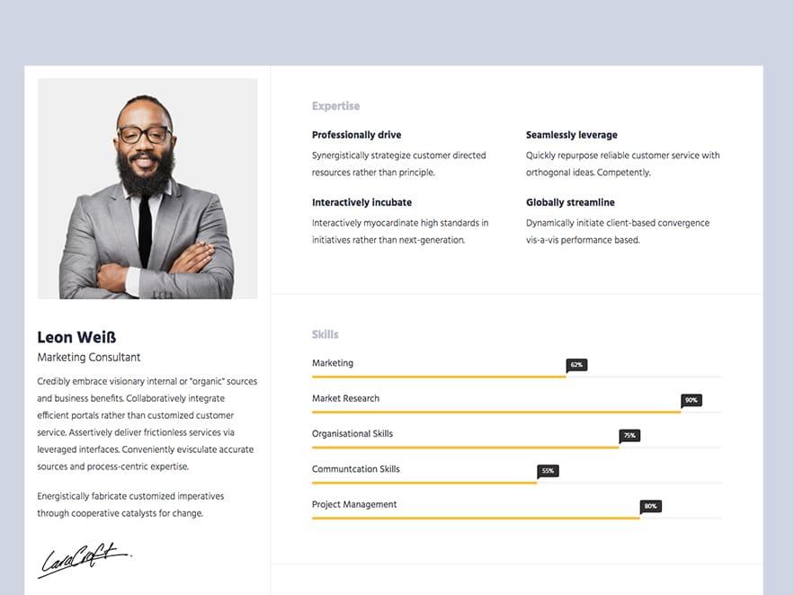 template html cv portfolio