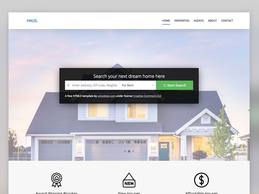Haus \u2013 Free Real Estate HTML5 Website Template - uiCookies