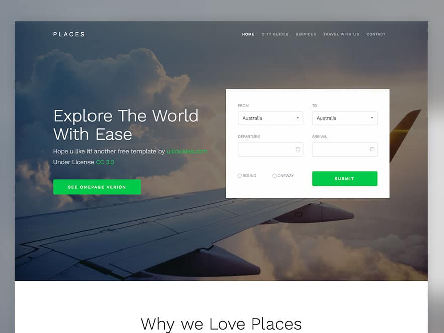 Places \u2013 Free Bootstrap 4 template for Travel Agency - uiCookies