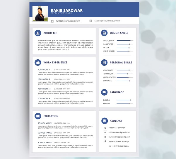 20+ Best Free Material Design Resume and CV Templates - UIdeck