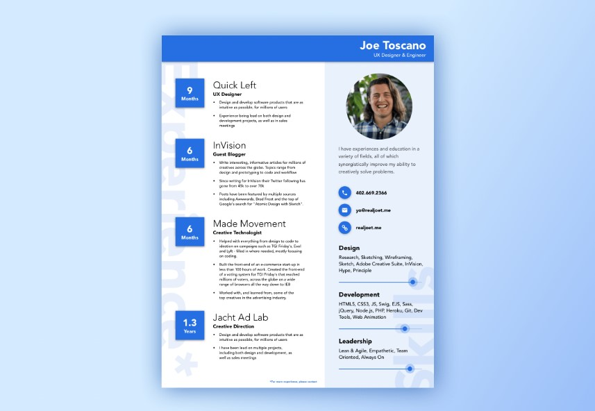 20+ Best Free Material Design Resume and CV Templates - UIdeck - best designed resumes