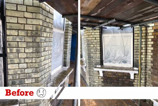 Brick elevation before being cleaned by UK Performance Restoration UK