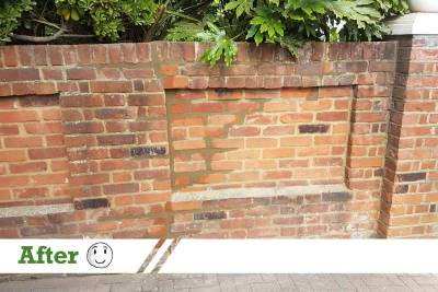 brick wall repair with steel rods and brick repointing