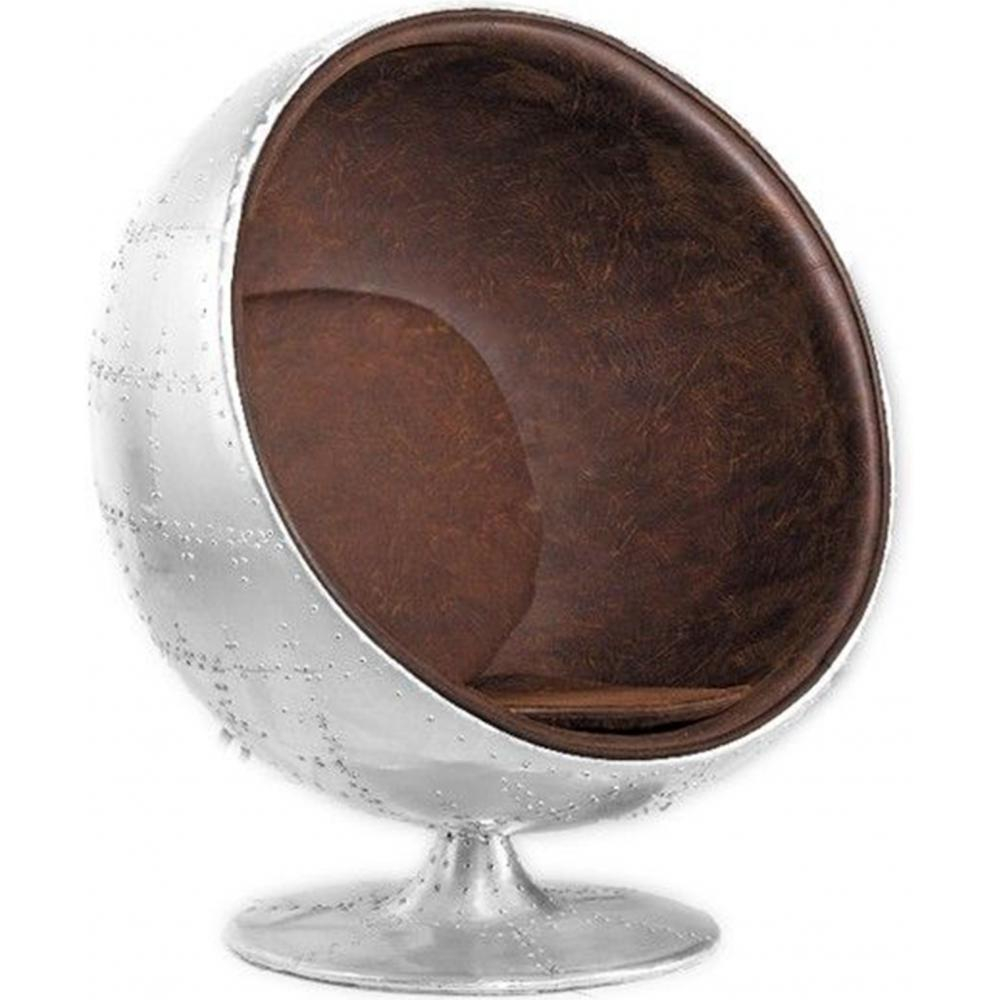 Ball Chair Buy Ball Chair Aviator Armchair - Microfiber Aged Leather Effect Brown 26718 In The Uk | Myfaktory
