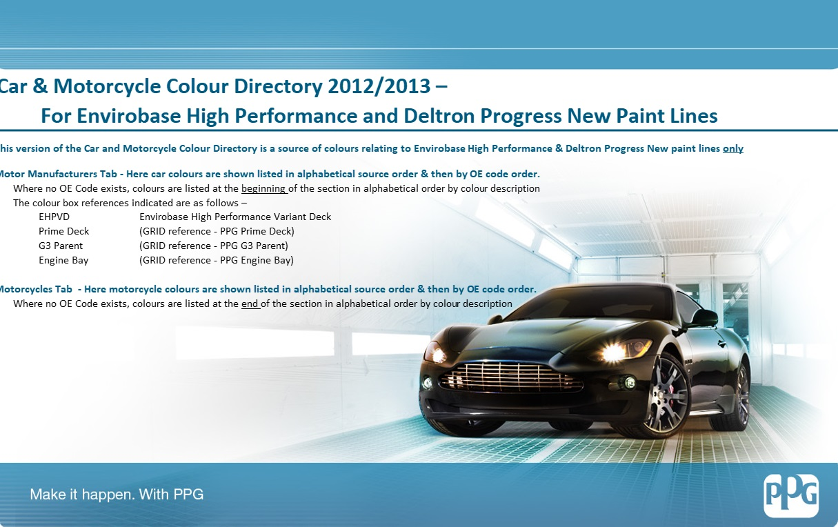 Vehicle Paint Manufacturers Colour Code Identification Ppg Global
