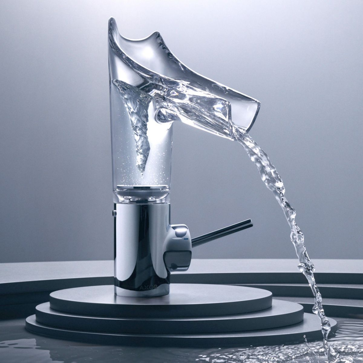 Axor Starck V Washbasin Mixer Axor Starck V 140 Basin Mixer With Glass Spout