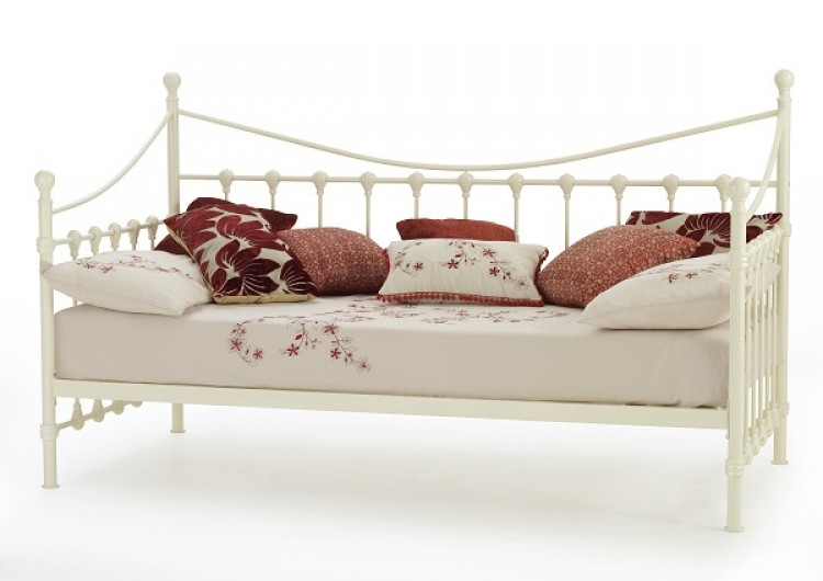 Single Day Bed Serene Marseilles 3ft Single Ivory Metal Day Bed Frame
