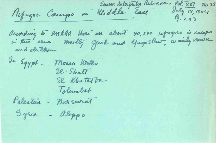 Сделанная от руки записка из архива показывает, что по состоянию на июль 1944 года в лагерях для беженцев на Ближнем Востоке и в Северной Африке MERRA зарегистрировала более чем 40 тысяч беженцев, в основном женщин и детей.Фото из записей Американского отделения Международной социальной службы в Архиве истории социального благосостояния Университета Миннесоты.