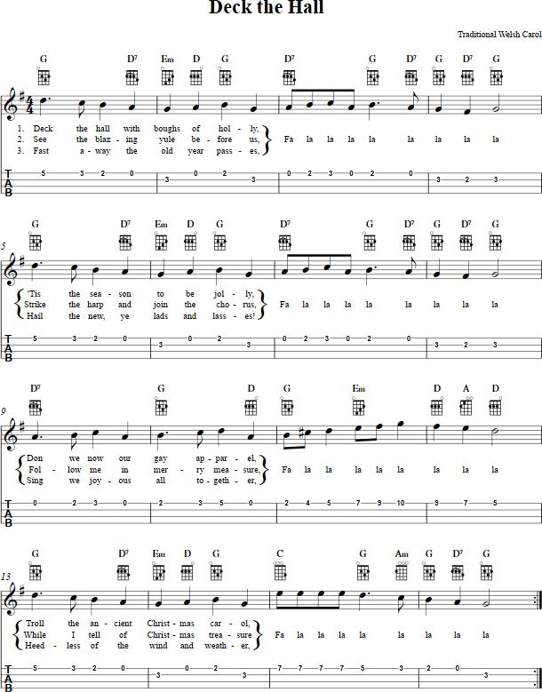 deck the hall ukulele sheet music