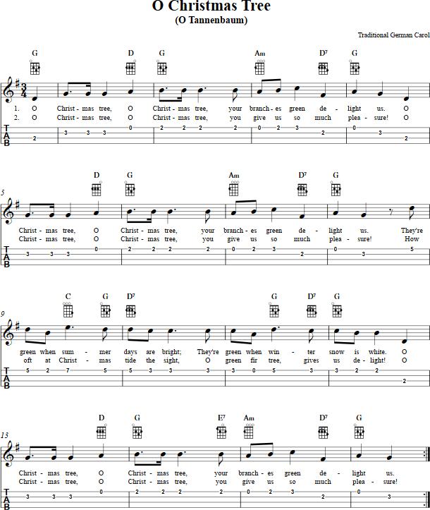 christmas song ukulele tabs