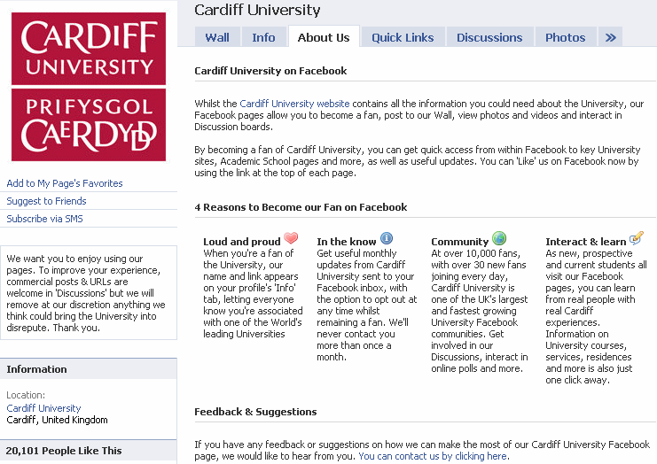 Use of Facebook by Russell Group Universities
