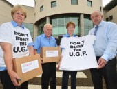 L-R:  Ulster Grand Prix supporters club members Gail Bailie, Des Stewart and Vanda Robinson with Alderman James Tinsley