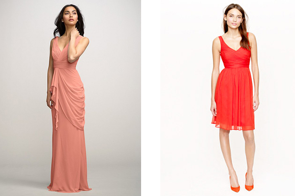 chiffon watters and jcrew bridesmaid dresses