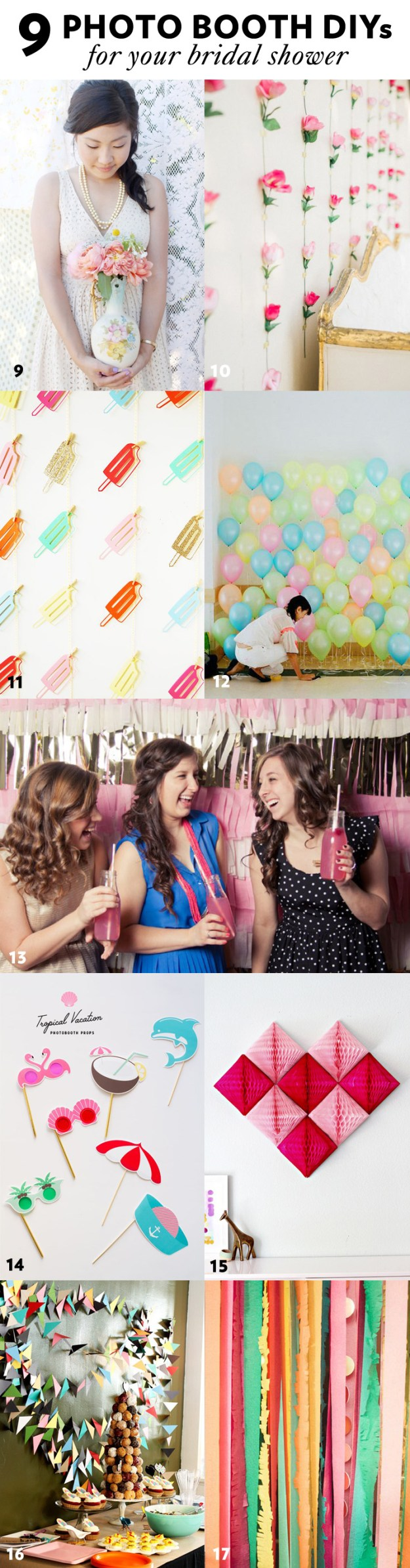 9 Photo Booth DIYs for your bridal shower + 41 More Simple and Stylish DIY Bridal Shower & Bachelorette Decoration Ideas from Ultimate Bridesmaid