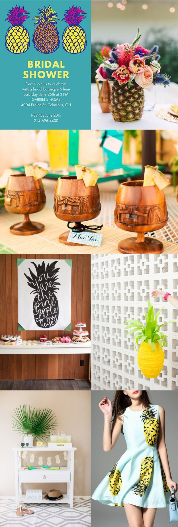 Pineapple bridal shower inspiration board