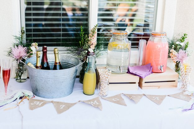 A Flower Crowns & Champagne Backyard Bridal Shower | Ultimate Bridesmaid | Dulcet Creative | Mimosa bar