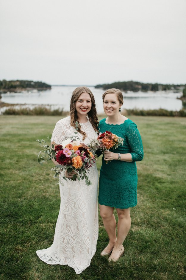 Fall wedding with green lace dresses | Our Northeast Charm Wedding in Maine | Ultimate Bridesmaid | Brett & Jessica Photography