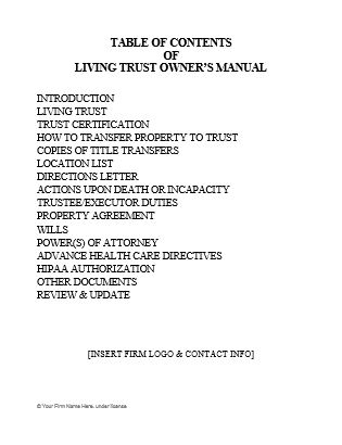 Living Trust Owner\u0027s Manual Inserts  Coverpages - Ultimate Estate