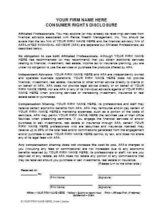 Financial Advisor  Attorney Referral Consumer Rights Disclosure - consumer form