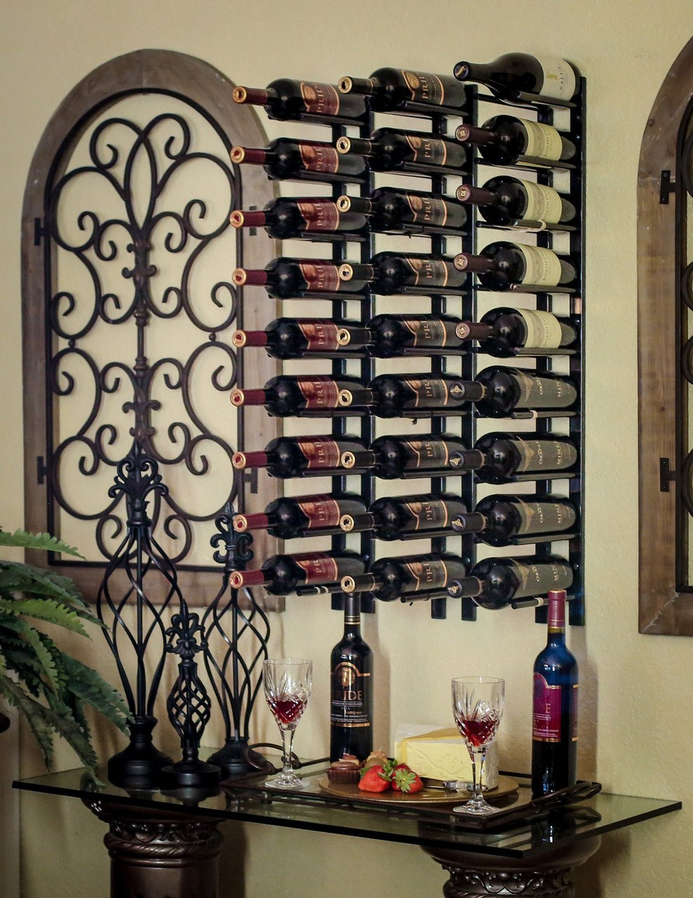 Metal Wine Racks 2 Ft Wall Rails Metal Wine Rack 6 Bottles