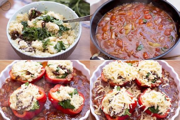 Papryka faszerowana kuskusem z suszonymi pomidorami i Fetą