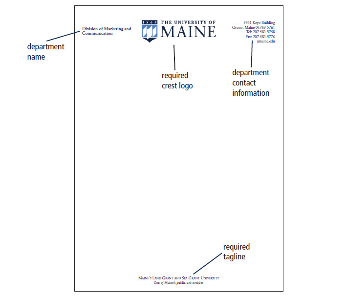 UMaine Letterhead, Envelopes  Business Cards - Printing and Mailing
