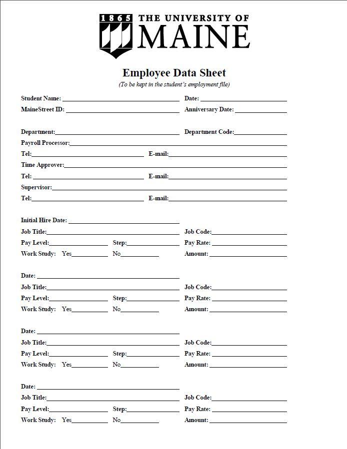 Student Employee Information Sheet - Sample - Student Employment