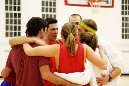 Team Eballa prepared for the game with a group huddle. Marissa Horn/The Mitzpeh.