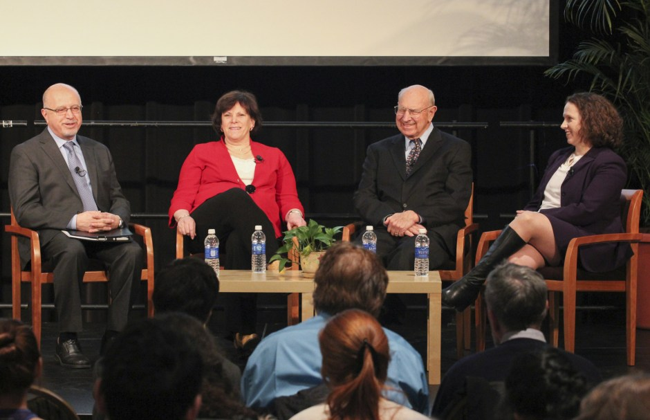 Panelists (left to right) Shibley Telhami, Jessica Tuchman Mathews, Thomas R. Pickering and Suzanne Maloney discuss the Iran nuclear issue. Photo by the College of Behavioral and Social Sciences.