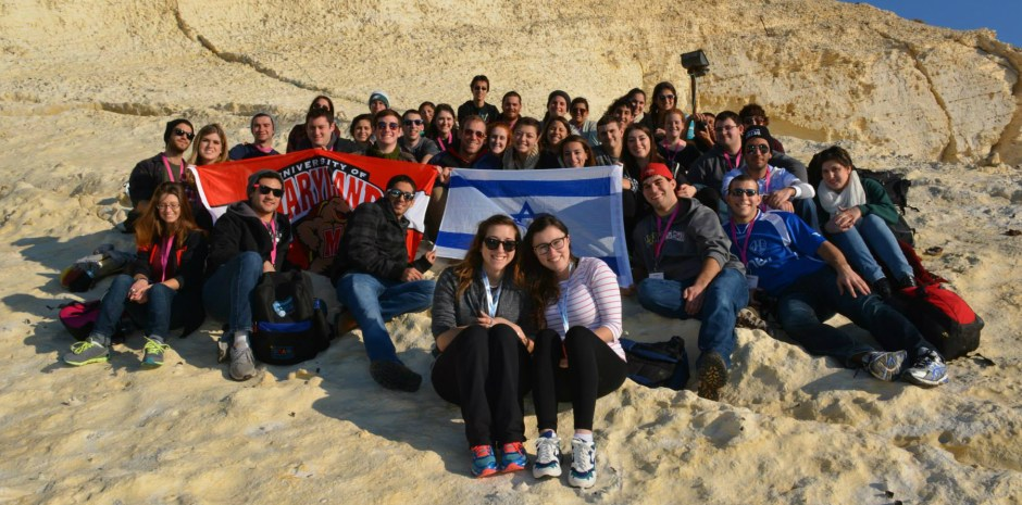 Maryland Hillel Birthright trip participants on the winter 2014 Taglit- Birthright Israel trip. Birthright expanded its definition of eligible participants last summer, but because of low enrollment related turmoil in the Gaza strip last summer, a proposed cap on second-timers remains temporarily lifted. Photo courtesy of Ally Turkheimer.