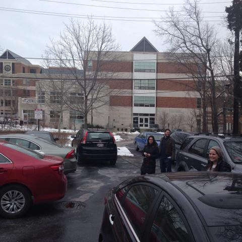 The parking lot in front of Hillel has fewer than 10 spaces, yet 16 cars crammed together is a common sight on during busy weekday lunches. Photo courtesy of Maiya Chard-Yaron.