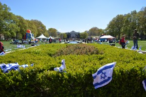 Set up of Israel Fest 2015 on McKeldin Mall. Dovid Fisher/Mitzpeh file.