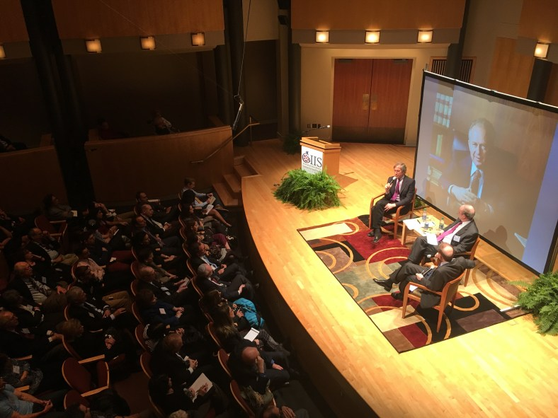 Aaron David Miller and Shlomo Ben-Ami spoke to approximately 200 students, teachers and visitors about the Israeli-Palestinian conflict during the Gildenhorn Institute's Dubin Lecture. Amos Remer/ Mitzpeh.