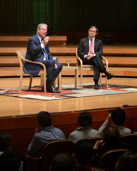 Former Vice President Al Gore answers a student's question on Tuesday, March 1, 2016. Dovid Fisher/Mitzpeh