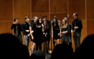 The whole group singing in Ulrich Concert Hall in Tawes Hall Saturday night. Dovid Fisher/Mitzpeh.