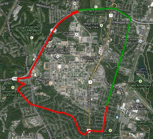 A map of the boundary of the eruv surrounding College Park. Map courtesy of the Eruv Committee.