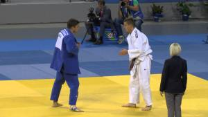 Competitors face off during a European Judo Championships match.  PLANETJUDO.RU via Youtube.