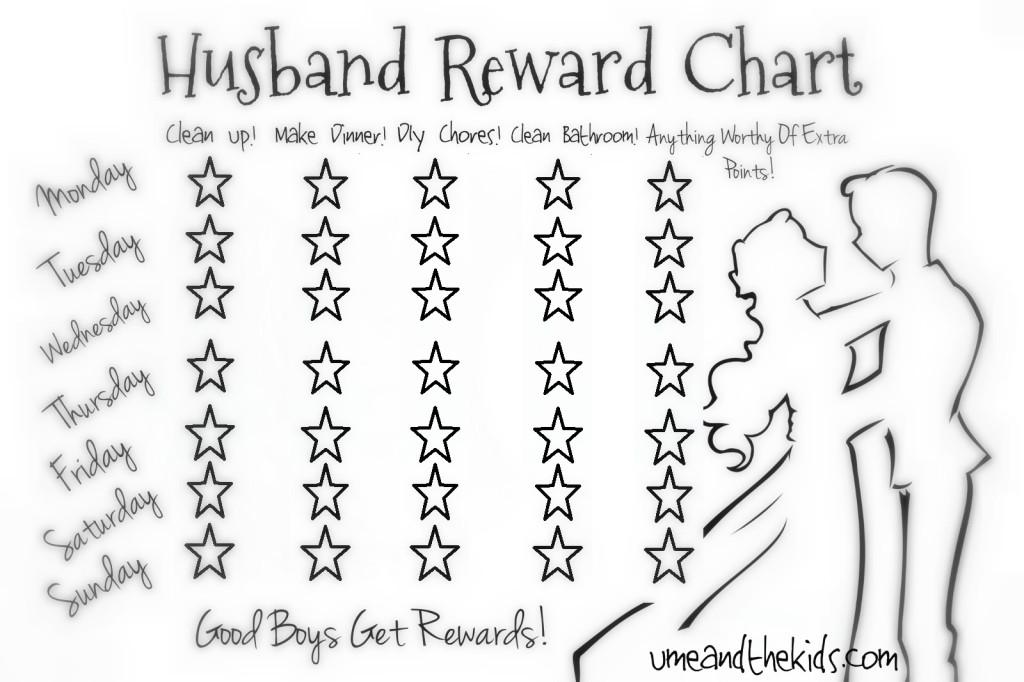 Lazy Husband\/Partner Reward Chart! - U me and the kids - number chart template