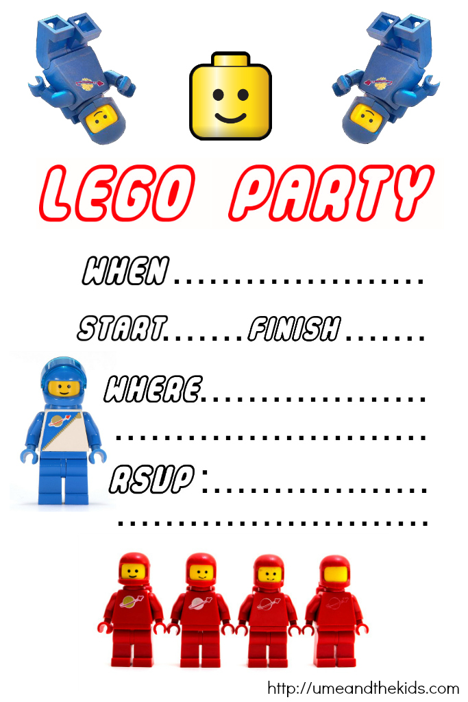 Free Printable LEGO Birthday Party Invitations - U me and the kids