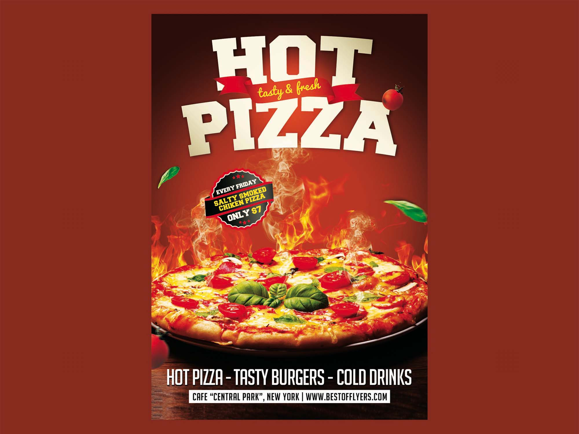 Poster Cuisine Free Hot Pizza Poster Template Psd