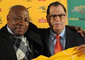 Bafana Bafana coach Shakes Mashaba with Danny Jordaan during the Safa press conference in Nasrec south of Johannesburg. Photo: Dumisani Sibeko