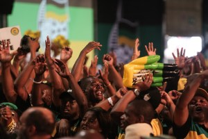 Members of the ANC sing and dance ahead of the opening ceremony of the 54th National Elective Conference in Nasrec, Johannesburg. . The event will see the governing party elect new leadership over the weekend. Picture: Alaister Russell/The Sunday Times