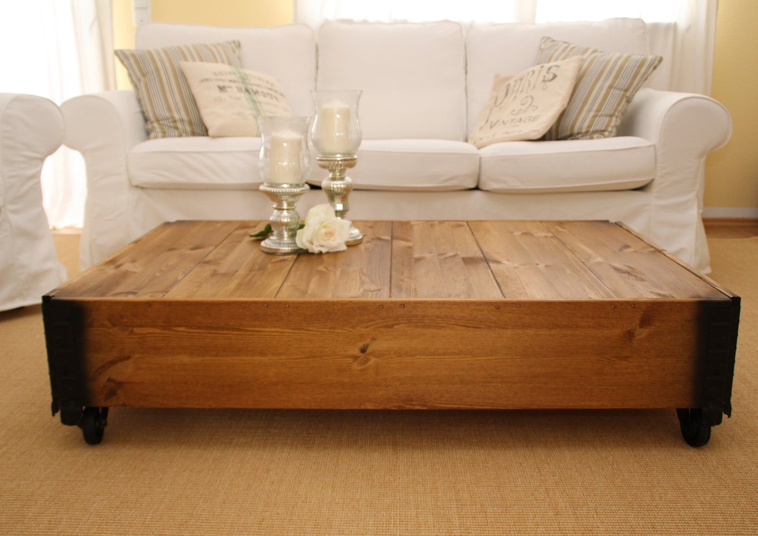 Couchtisch Holz Mit Schublade Table Basse Table De Salon Table Basse Bois Massif Vintage