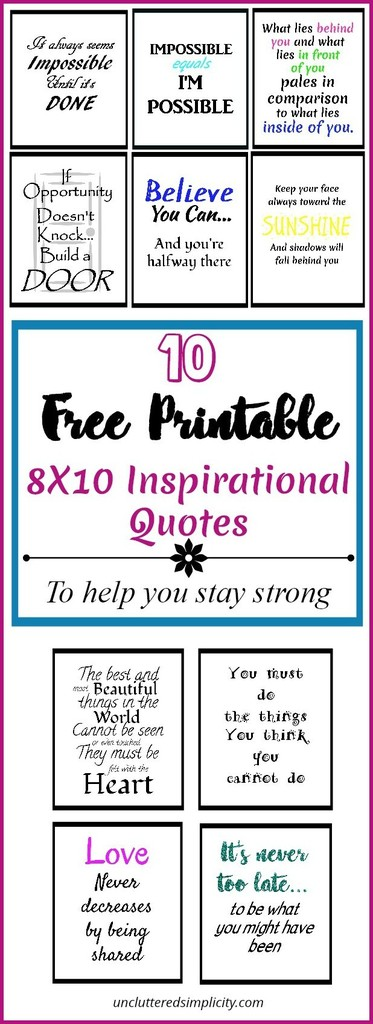 10 Free Printable Inspirational Quotes That Will Help You To Stay Strong