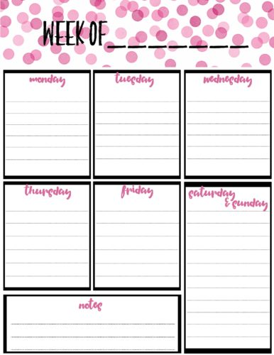 Free Weekly Calendar Planner Printable Full And Half Size Single Page - Free Weekly Calendar